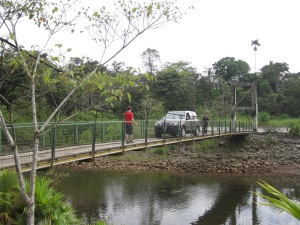 Fatima car on narrow bridge