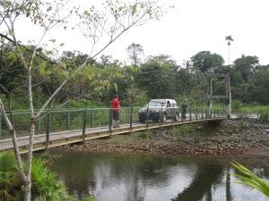 Fatima car on narrow bridge