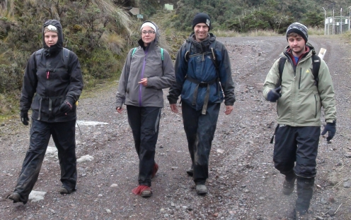 PCRG members on filed work in Cayabe-Coca National Park (2012). Left to right: Hayley, Encarni, William and Frazer.