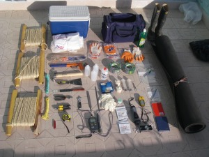 Equipment of lake coring and sample collection (Bolivia 2005)