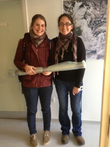Rachel Gill and Encarni Montoya with sediment cores from Jamaica.