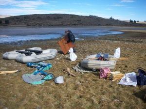 Setting up platform for coring at Laguna Challacaba (Williams et al. 2011b)