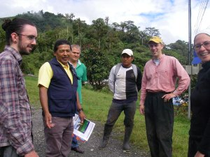 The team meet up with Sr. Efren Erazo Puetate to gain permission and guides to find the lake.