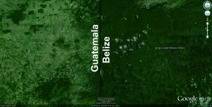 Google Earth image of the Belize-Guatemala boarder near Las Cuevas.