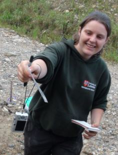 Hayley Keen getting excited about sediments during fieldwork in Ecuador (2012). Photo: J. Malley