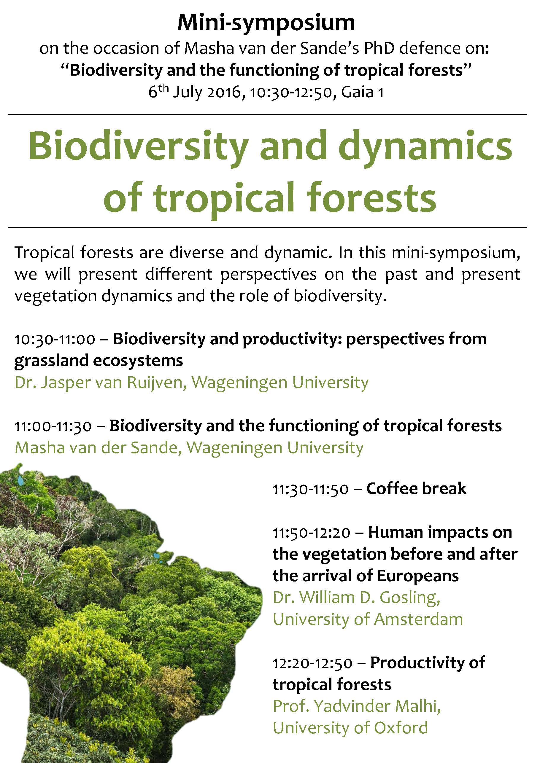 Mini-symposium 'Biodiversity and dynamics of tropical forests'