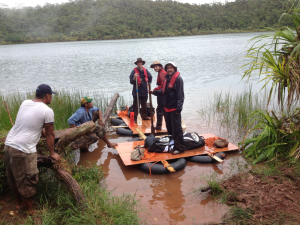 The team lake coring in the South Pacific. Photo Jon Hassall, see more: https://goo.gl/viiLSQ