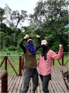 Veerle and I trying to protect ourselves from the mosquitos.