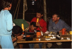 The 1988 camp at Zanucudococha was a place of field biology. Chemist Mike Miller worked late into the night on limnology, while field microscopes were used to get an early glimpse of plankton and diatoms. From left to right: Melanie Riedinger-Whitmore, Eduardo Asanza, Haki, Paulo de Oliveira and Paul Colinvaux. Photo: M. Bush.