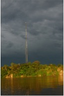 The cell tower at the village of Zancudococha. Photo: M. Bush.
